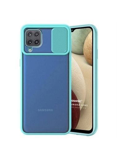 Microsonic Samsung Galaxy A12 Kılıf Slide Camera Lens Protection Kırmızı Turkuaz